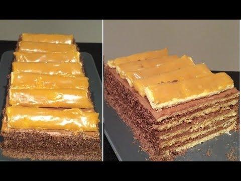 Recette du gâteau mille,feuilles hongrois, Dobos/Biscuit ,crème au beurre  chocolat, caramel