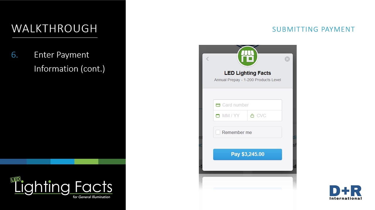 Led Lighting Facts Submitting Payment