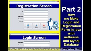 Java Project - Make Login and Register Form with source code Using NetBeans And MySQL Part 2