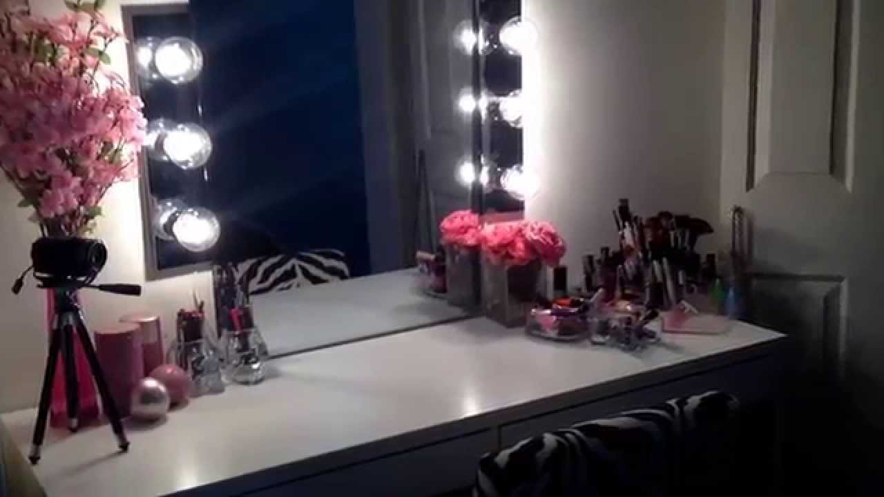 Vanity Desk Mirror With Lights.  DIY Hollywood Vanity Mirror Ikea Micke Desk YouTube