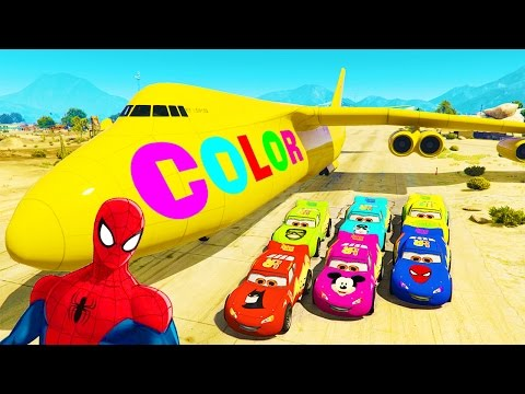 Disney COLOR CARS Lightning McQueen and Spiderman Cartoon Big Plane Colors for Kids Nursery Rhymes