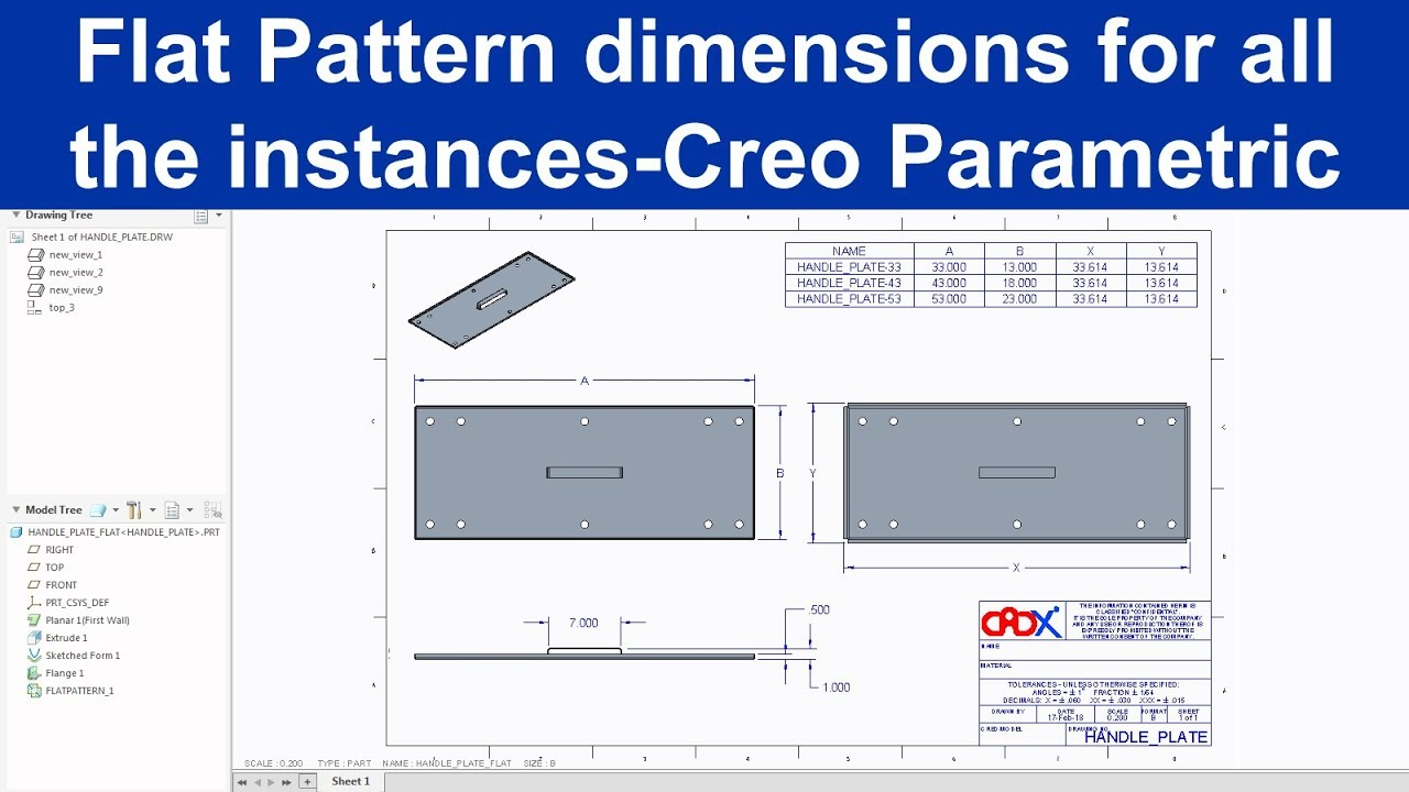 Add Flat Pattern dimension for all the instances at a time for a sheet metal part in Creo Parametric