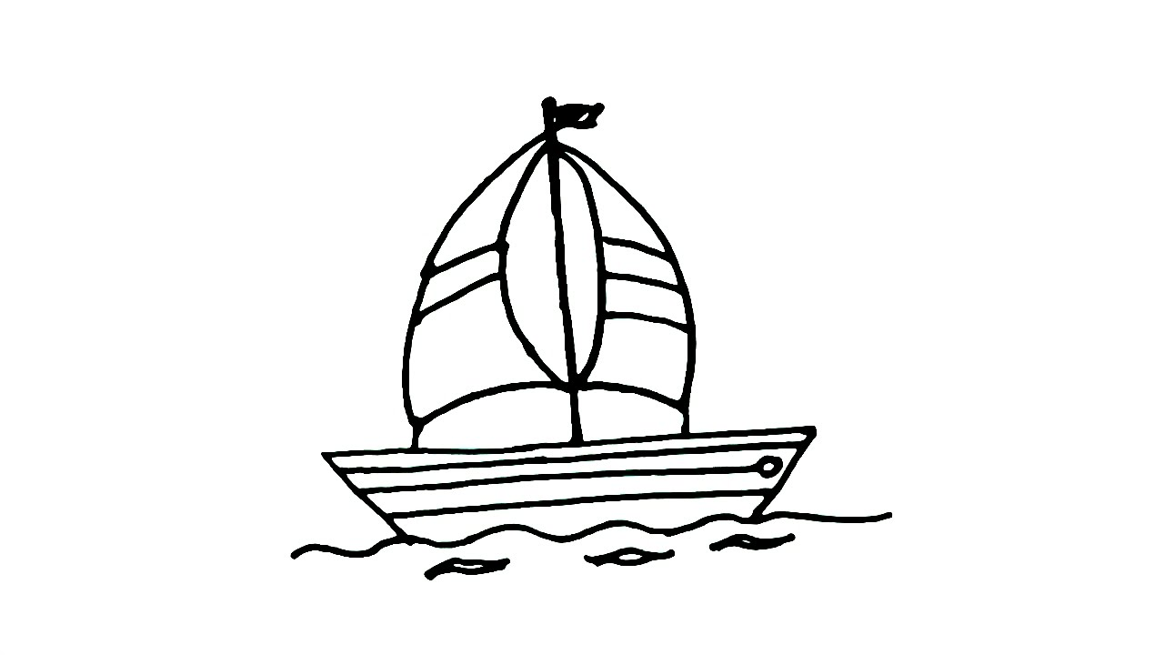 how to draw a sailboat or sailing boat in easy steps for children