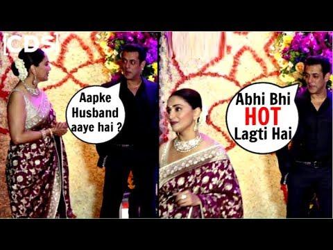 Salman Khan Flirting With Madhuri Dixit At Sooraj Barjatya Son Wedding