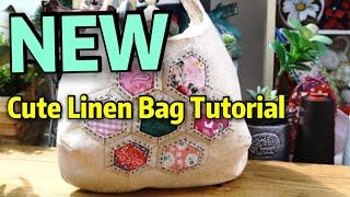 Cute Linen Bag Tut๐rial / How to Applique a Hexagon Flower #HandyMumLin