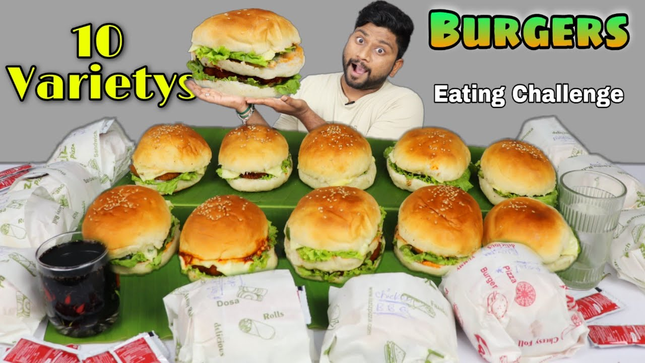 10 Variety Burger EATING CHALLENGE | Tower Burger, Mexican Burger, Spice ext... | Burger Challenge