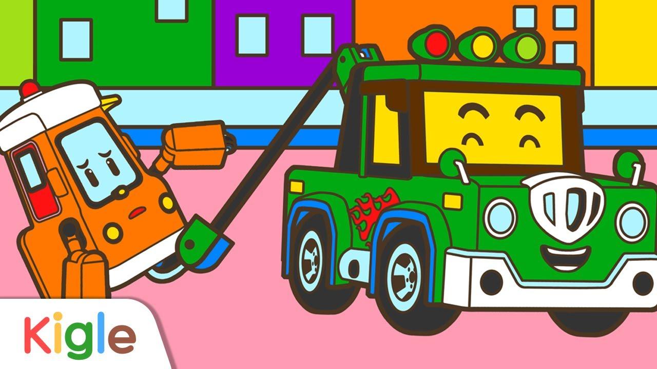 견인차 청소차 배달차 색칠하기 | 특수차 | 로보카폴리 스케치북 | 어린이 색칠놀이, 그림그리기, 화가놀이 | KIGLE TV | 키글 TV