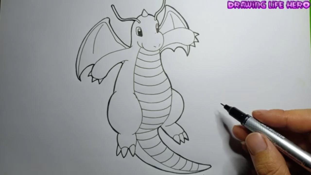 Cách Vẽ Line Pokemon DRAGONITE đơn giản-DRAWING POKÉMON