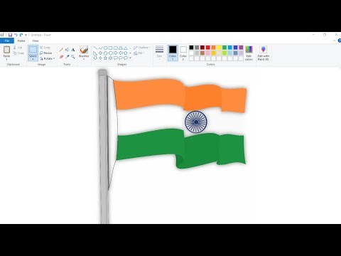 How to draw National Flag of India using Ms Paint | Indian Flag Drawing.