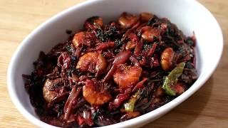 চিংড়ি মাছ দিয়ে লাল শাক ভাজি | Lal Shak Bhaja | Bengali Red Spinach Fry | Healthy Recipe
