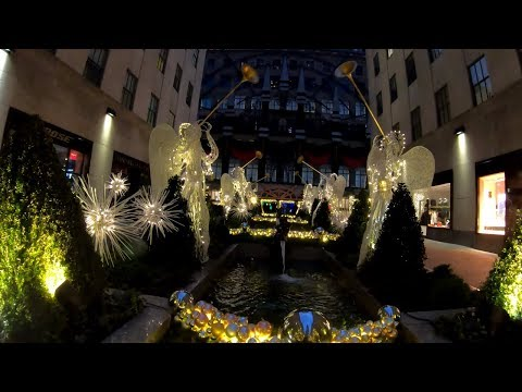 ⁴ᴷ⁶⁰ Early Morning Walk on Fifth Avenue & Rockefeller Center, NYC during the Holidays 2018