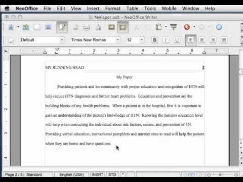 APA style headings in NeoOffice - YouTube