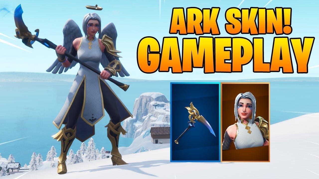 new ark skin virtue pickaxe gameplay fortnite battle royale - fortnite ark skin pickaxe