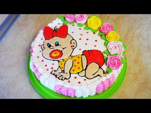 УКРАШЕНИЕ торта ШОКОЛАДНОЙ глазурью Торт девочке на 1 годик