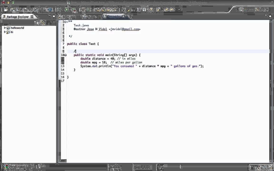 Java comments and eclipse comment templates tutorial youtube for Using templates in java
