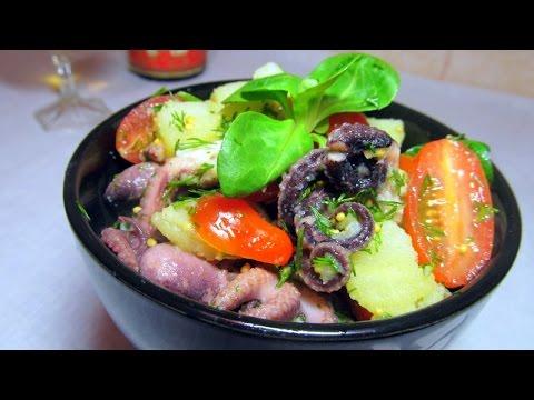 Теплый салат с осьминогами
