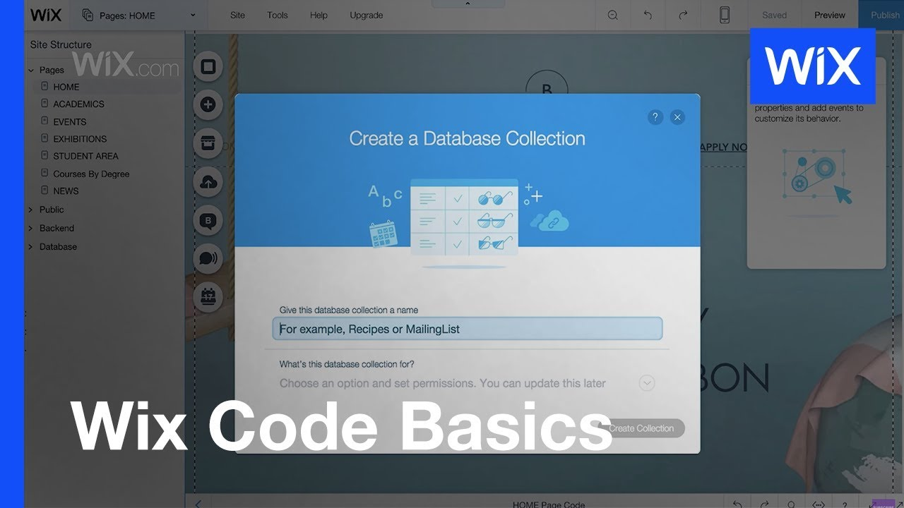 Wix Code How To Set Up A Database Collection Youtube