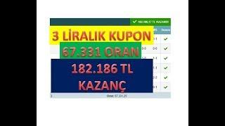 İDDAA - 3TL İLE 182 BİN TL KAZANAN KUPON