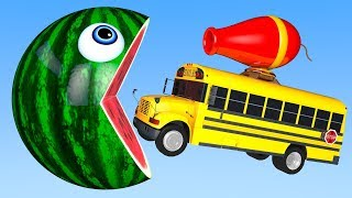 Learn Colors with PACMAN and Farm WaterMelon School Bus Beads Canon Street Vehicle for Kid