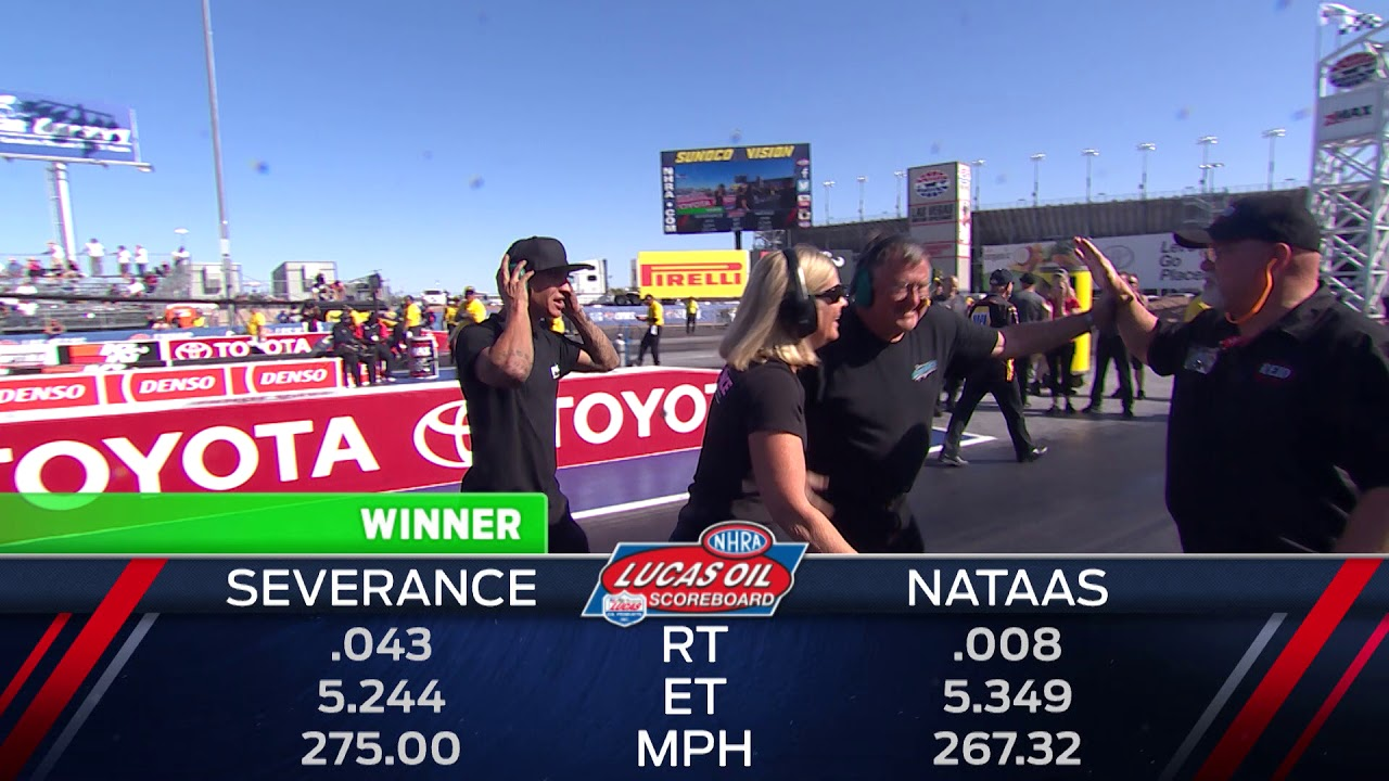 2018 DENSO Spark Plugs NHRA Four Wide Nationals Top Alcohol Dragster Winner Joey Severence