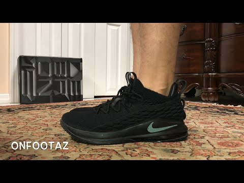 new style 3a203 ffb9b Nike LeBron 15 XV Low Triple Black On Foot - YouTube