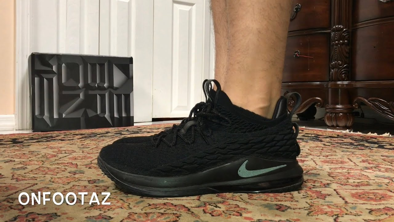 7b527aadd9ffc Nike LeBron 15 XV Low Triple Black On Foot - YouTube