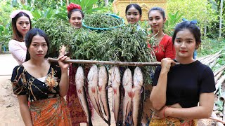 Amazing cooking 20 kg fish fried with vegetable recipe with my family