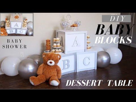 DIY Baby Shower Decor | Baby Blocks Gender Neutral Baby Shower | DIY Dessert Table