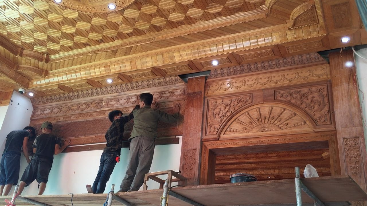 Projects Decor Living Room Design Install Wooden Wall With Extreme Luxury Carved Gilding Details Youtube