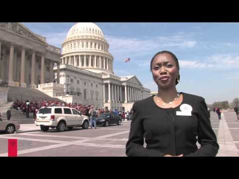 SPIE-sponsored student Hadiyah-Nicole Green at Congressional Visits Day.