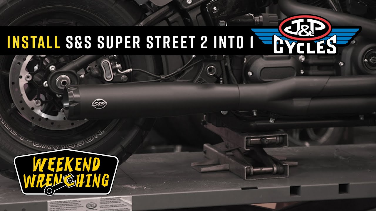 s s cycle super street 2 into 1 exhaust install milwaukee eight fat bob softail 50 state legal