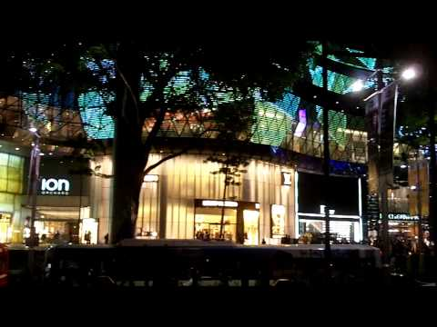 Orchard Road, Singapore, night lights, June 2010, near corner of Scotts Road