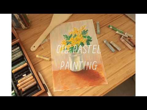 Oil pastel drawing วาดรูปดอกไม้ด้วยสีชอล์ค