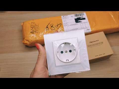 Розетки с AliExpress.Сенсорный выключатель Sesoo с Алиэкспресс. Распаковка .