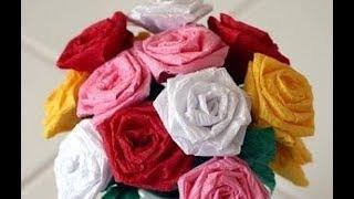 КРАСИВЫЕ РОЗЫ ИЗ ГОФРИРОВАННОЙ БУМАГИ 🌹 Цветы из бумаги своими руками поделка с детьми к 8 Марта