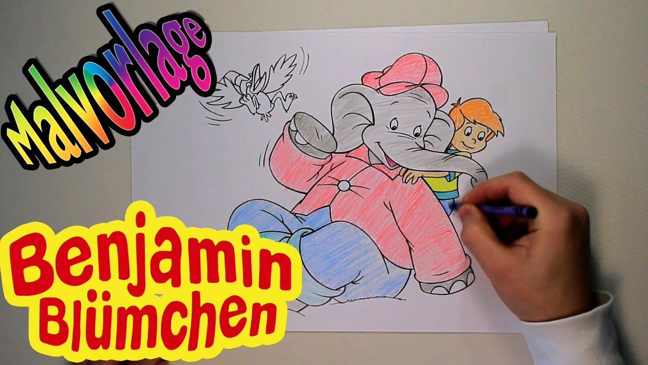Malvorlage Benjamin Blümchen für kinder mit wachsmalstifte
