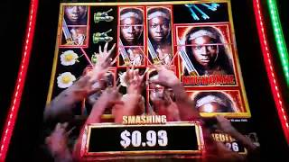 The Walking Dead 2 Slot Machine Bonus Win With MAX BET