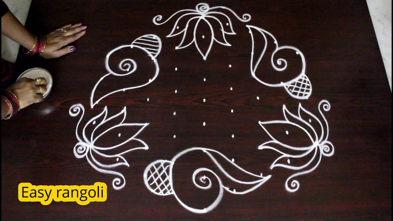 Lotus Flower Kolam Designs With 9 Dots Muggulu Designs With Dots