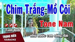 Karaoke Chim Trắng Mồ Côi Tone Nam Nhạc Sống | Trọng Hiếu