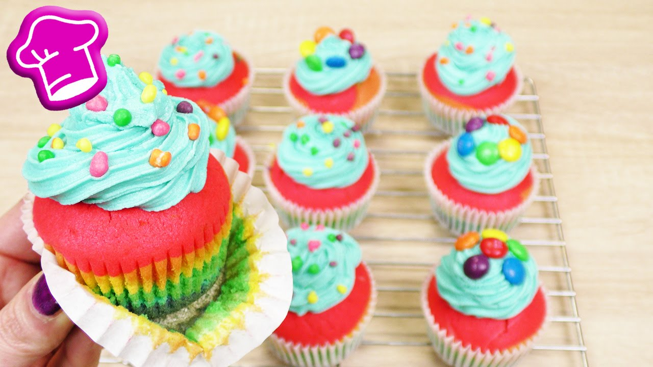 regenbogen cupcakes backen bunte cupcakes wundersch n. Black Bedroom Furniture Sets. Home Design Ideas