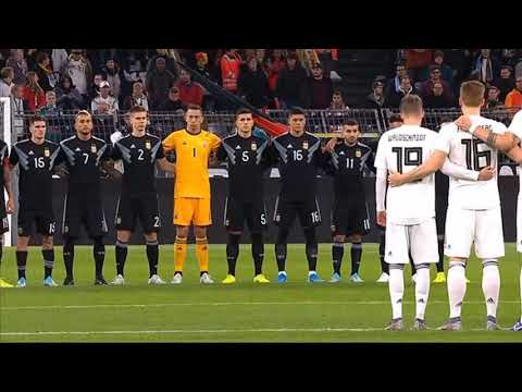 Before Germany's friendly vs. Argentina, during a minute of silence dedicated to the victims of the Halle attack carried out by a right-wing extremist, a man starts singing the German national anthem. Seconds later, someone aggressively tells him to shut up, and the audience applauds.