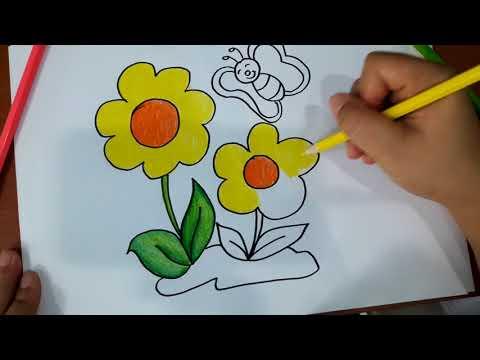 วาดภาพ ระบายสี ดอกไม้ กับ ผีเสื้อ ที่สวยงาม
