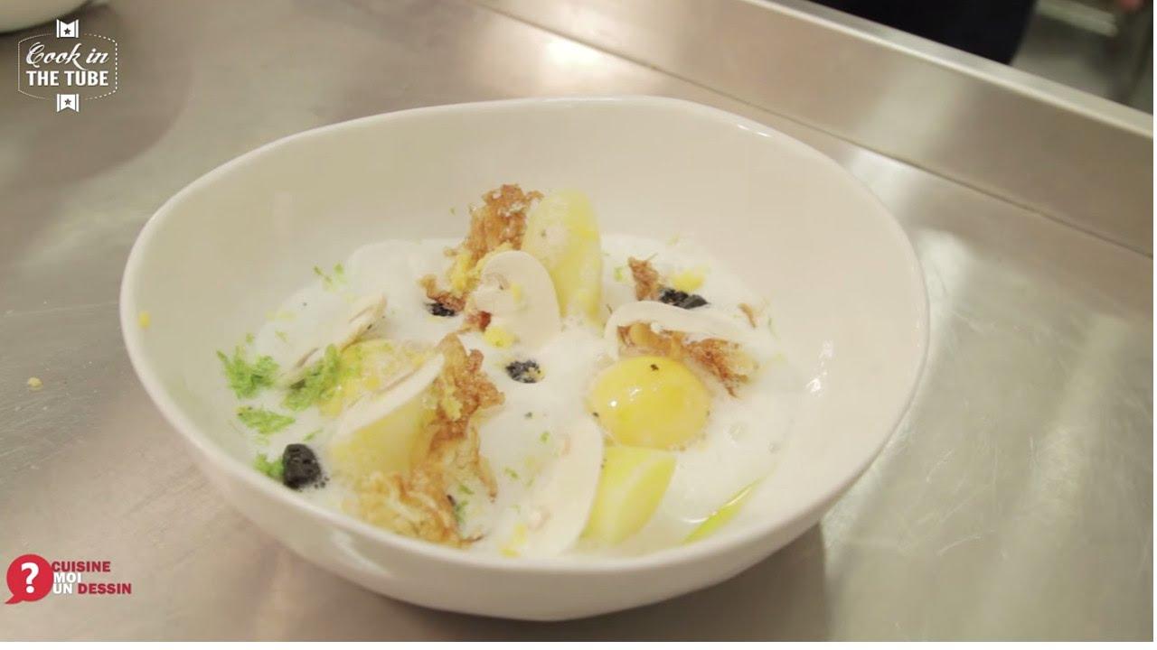Oeuf confit et lait de hareng fum recette alexis top - Poele de top chef ...