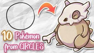 Drawing 10 POKÉMONS from CIRCLES - Digital Art - Huion Kamvas GT-156HD V2 Review