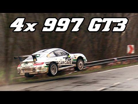 4x Porsche 997 GT3 - Spa Rally 2017 (Jumps, drifts, flames and loud exhausts)