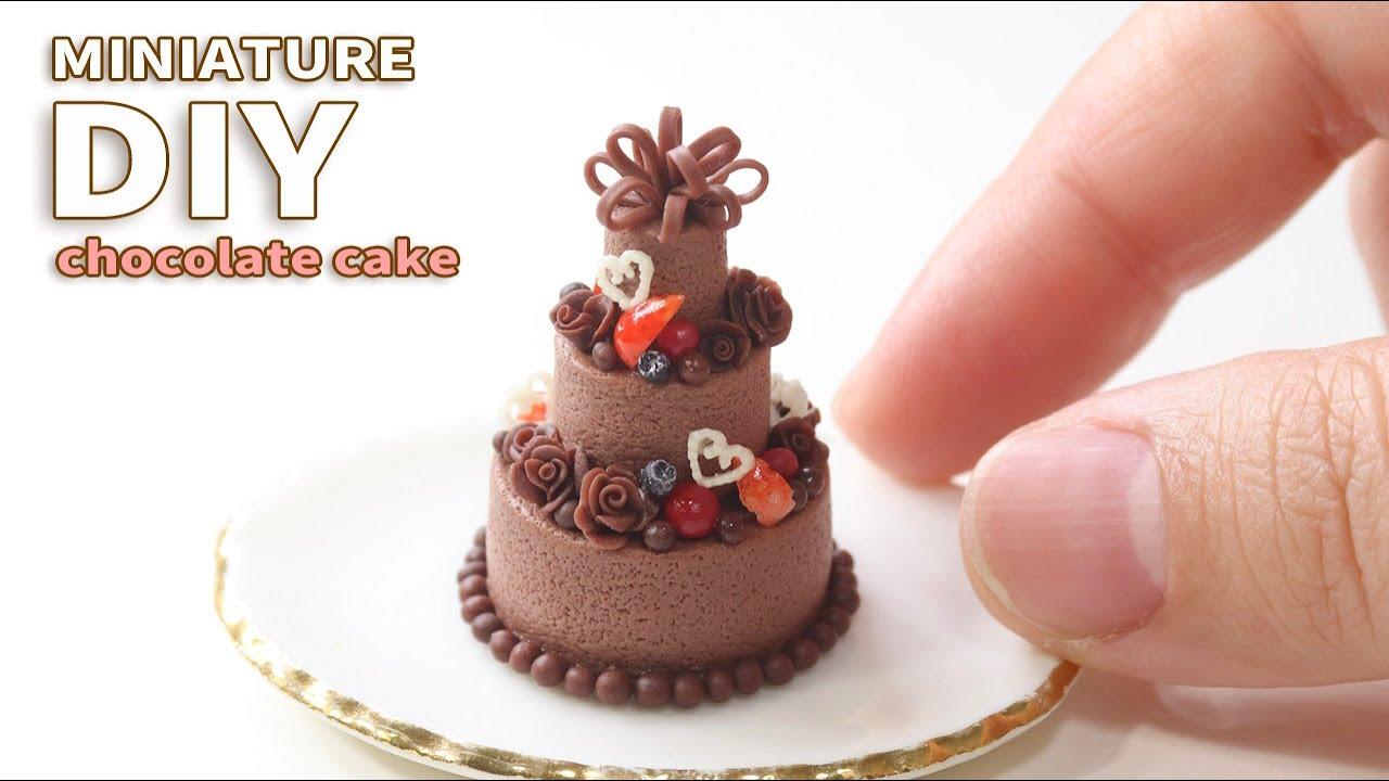 ミニチュア樹脂粘土 華やかなチョコレートケーキのつくりかた How to make a miniature cake with air dry clay. DIY