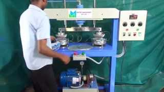 Paper plate semi automatic  machine- Double die -working condition..