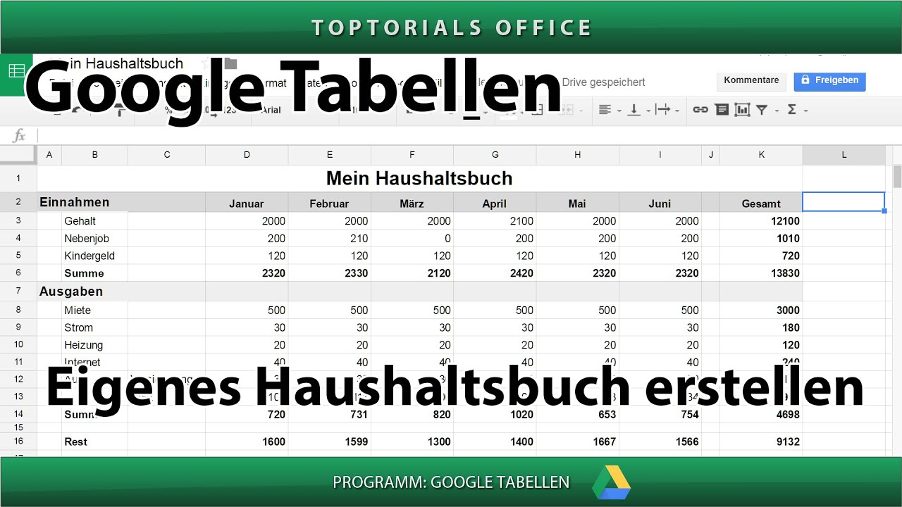 ein eigenes haushaltsbuch haushaltsplan erstellen google tabellen spreadsheets youtube. Black Bedroom Furniture Sets. Home Design Ideas
