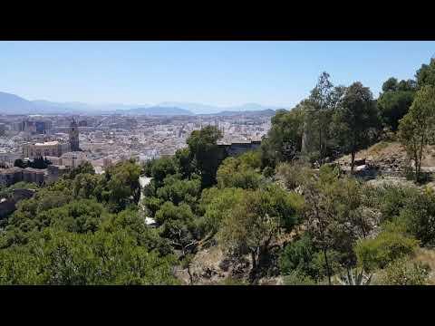Malaga view with spanish guitar music, Spain travel