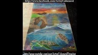 Wood Art With Colored Pencils - Okinawa Seascape